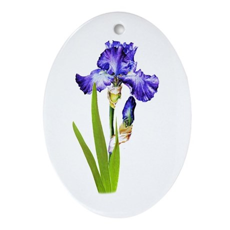 Purple Iris Oval Ornament