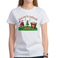 SANTA LUVS MY GREYHOUND WOMEN'S WHITE TEE