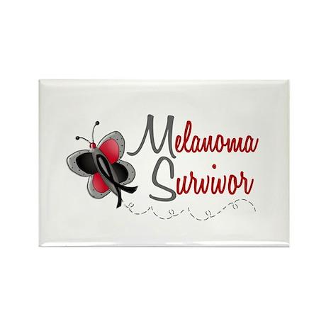 Melanoma Survivor 1 Butterfly 2 Rectangle Magnet