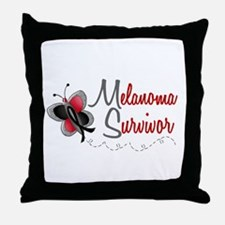 Melanoma Survivor 1 Butterfly 2 Throw Pillow