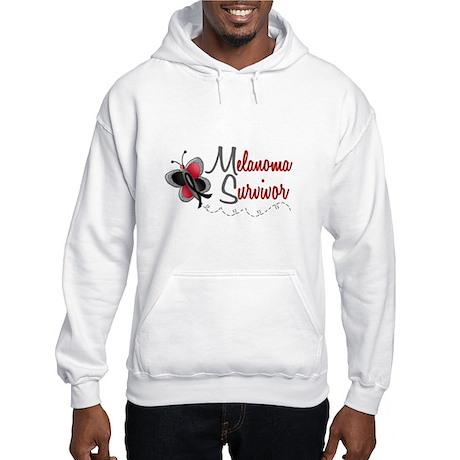 Melanoma Survivor 1 Butterfly 2 Hooded Sweatshirt