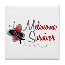 Melanoma Survivor 1 Butterfly 2 Tile Coaster
