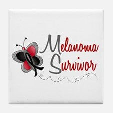 Melanoma Survivor 1 Butterfly 2 Tile Coaster