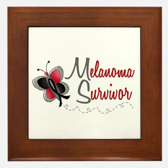 Melanoma Survivor 1 Butterfly 2 Framed Tile