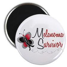 "Melanoma Survivor 1 Butterfly 2 2.25"" Magnet (100"