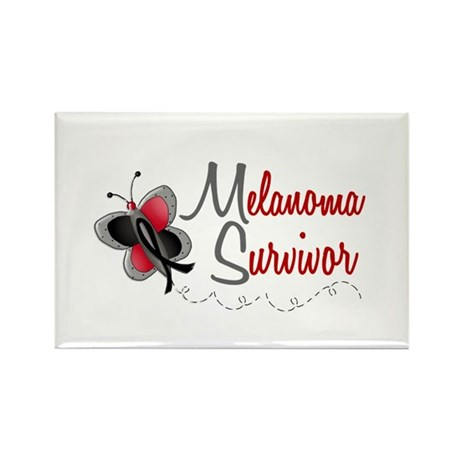 Melanoma Survivor 1 Butterfly 2 Rectangle Magnet (
