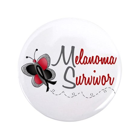 "Melanoma Survivor 1 Butterfly 2 3.5"" Button (100 p"