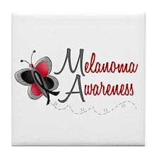 Melanoma Awareness 1 Butterfly 2 Tile Coaster