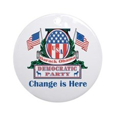 Obama: Change Is Here Ornament (Round)