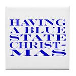 Blue State Christmas Tile Coaster