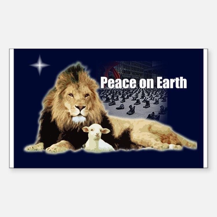 Peace on Earth for the Religi Sticker (Rectangular