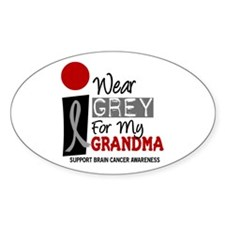 I Wear Grey For My Grandma 9 Oval Decal