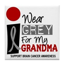 I Wear Grey For My Grandma 9 Tile Coaster