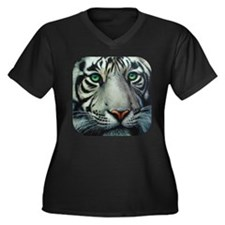 White Tiger Women's Plus Size V-Neck Dark T-Shirt