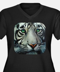 White Tiger Women's Plus Size V-Neck Dark T-Shirt
