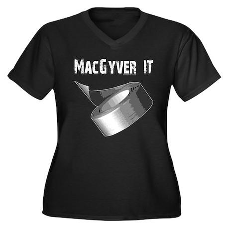 MacGyver It. Women's Plus Size V-Neck Dark T-Shirt