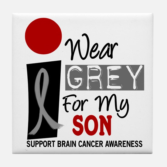 I Wear Grey For My Son Tile Coaster