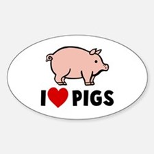I heart pigs Oval Decal
