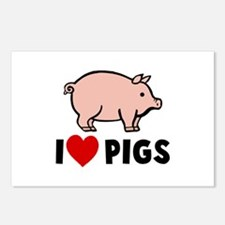 I heart pigs Postcards (Package of 8)