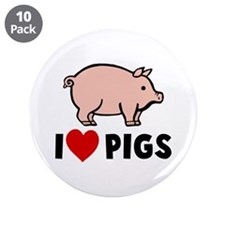 """I heart pigs 3.5"""" Button (10 pack)"""