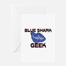 Blue Shark Geek Greeting Cards (Pk of 10)