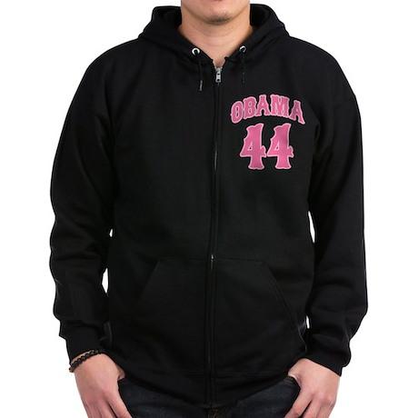 Obama pink 44 Zip Hoodie (dark)