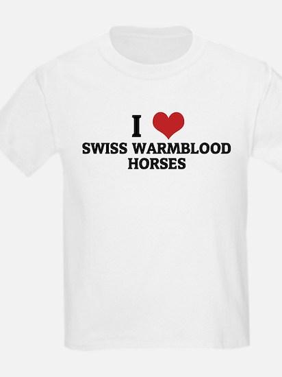 I Love Swiss Warmblood  Horse Kids T-Shirt