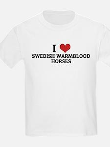 I Love Swedish Warmblood Hors Kids T-Shirt