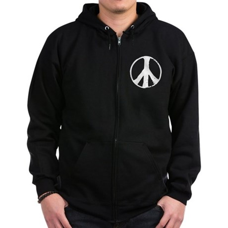 Distressed Peace Symbol Zip Hoodie (dark)