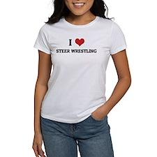 I Love Steer Wrestling Tee
