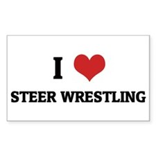 I Love Steer Wrestling Rectangle Decal