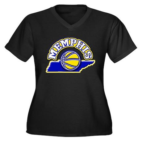 Memphis Basketball Women's Plus Size V-Neck Dark T