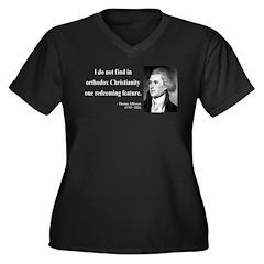 Thomas Jefferson 4 Women's Plus Size V-Neck Dark T