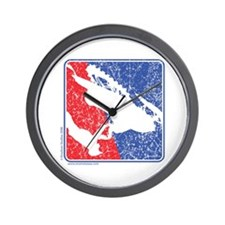 Red White and Blue Sledder Distressed Wall Clock