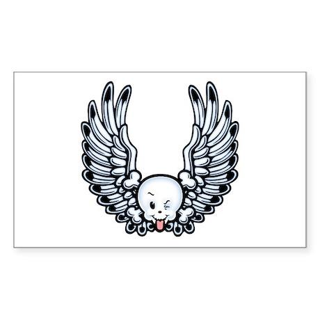 Winged Kidskull Rectangle Sticker