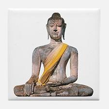 Meditating Stone Buddha Tile Coaster