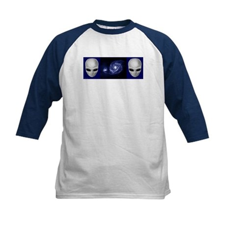 Aliens with Spiral Galaxy Kids Baseball Jersey
