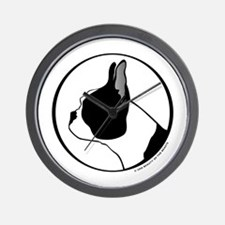 Boston Terrier Head B&W Wall Clock