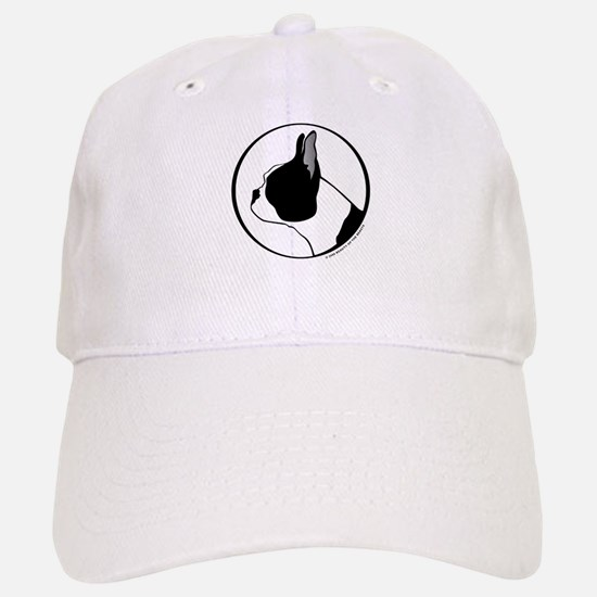 Boston Terrier Head B&W Baseball Baseball Cap