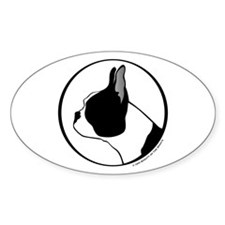 Boston Terrier Head B&W Oval Decal