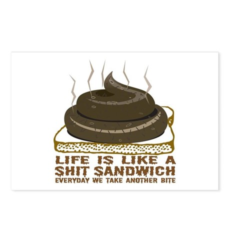 Life Is Like A Shit Sandwich Postcards (Package of