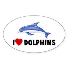 I Heart Dolphins Oval Decal