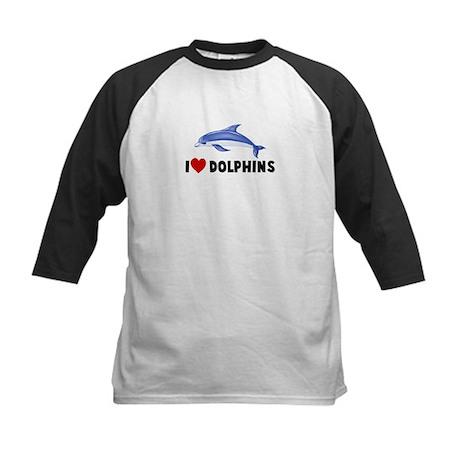 I Heart Dolphins Kids Baseball Jersey
