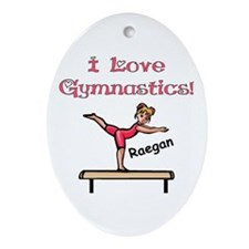 -I Love Gymnastics (Raegan) Oval Ornament