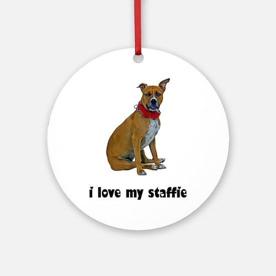 I Love My Staffie Ornament (Round)