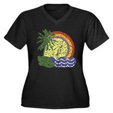 Vintage Summer Women's Plus Size V-Neck Dark T-Shi