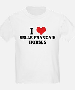 I Love Selle Francais Horses Kids T-Shirt