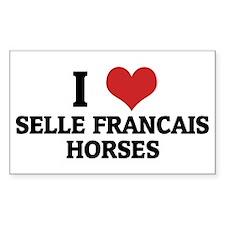 I Love Selle Francais Horses Rectangle Decal