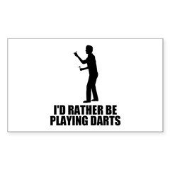 I'd rather be playing darts Rectangle Sticker