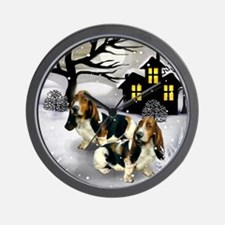 BASSET HOUND DOGS WINTER DAY Wall Clock
